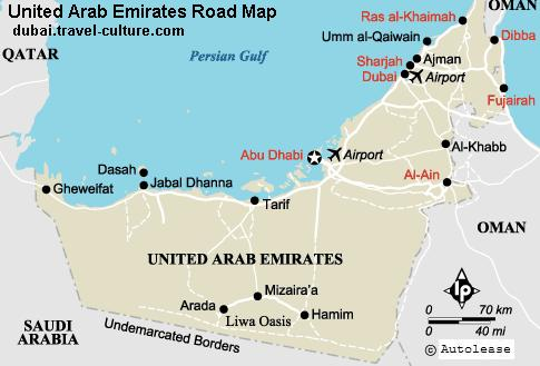 Uae Road Map showing different cities and town of UAE and other